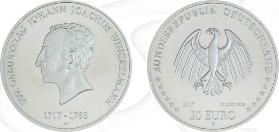 20 Euro 2017 Deutschland Brd 20 Euro Silber 2017 F St Johann Joachim