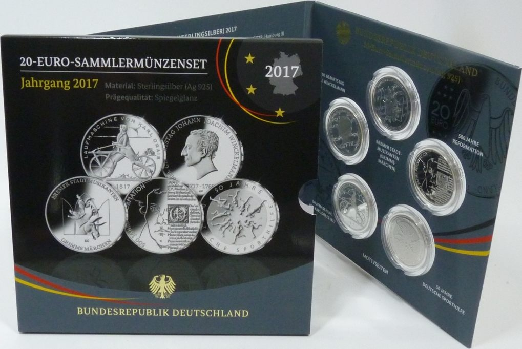 5x 20 Euro 2017 Deutschland Brd Gdm Set 5x 20 Euro Silber 2017 Pp