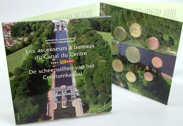 3,88 Euro 2007 Belgien Belgien Kursmünzensatz 2007 stempelglanz Centrumkanaal stempelglanz
