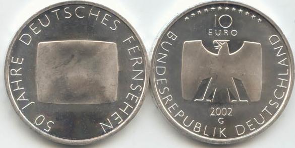 10,00 Euro 2002 Deutschland BRD 10 Euro Silber 2002 G st/prägefrisch 50 Jahre Deutsches Fernsehen st / prägefrisch