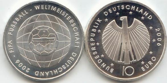 10,00 Euro 2006 Deutschland BRD 10 Euro Silber 2006 A st/prägefrisch Fußball-WM Ausgabe IV st / prägefrisch