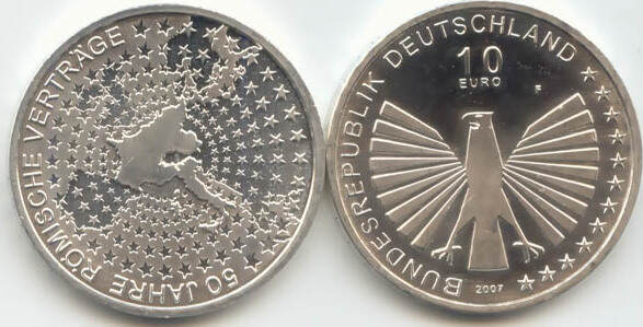 10,00 Euro 2007 Deutschland BRD 10 Euro Silber 2007 F st/prägefrisch 50 Jahre Römische Verträge st / prägefrisch