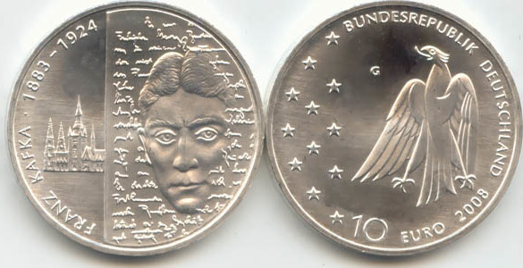 10,00 Euro 2008 Deutschland BRD 10 Euro Silber 2008 G st/prägefrisch 125. Geburtstag Franz Kafka st / prägefrisch