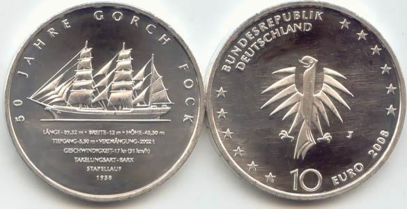 10,00 Euro 2008 Deutschland BRD 10 Euro Silber 2008 J st/prägefrisch Segelschulschiff Gorch Fock II st / prägefrisch
