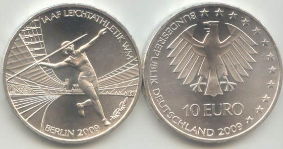 10,00 Euro 2009 Deutschland BRD 10 Euro Silber 2009 A st/prägefrisch Leichtathletik WM Berlin . - st / prägefrisch