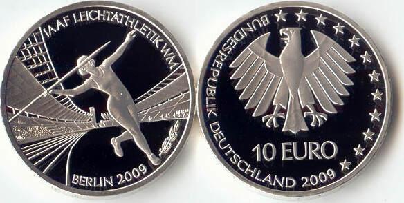 10,00 Euro 2009 Deutschland BRD 10 Euro Silber 2009 F PP (Spiegelglanz) Leichtathletik WM Berlin ..-. PP (Spiegelglanz)