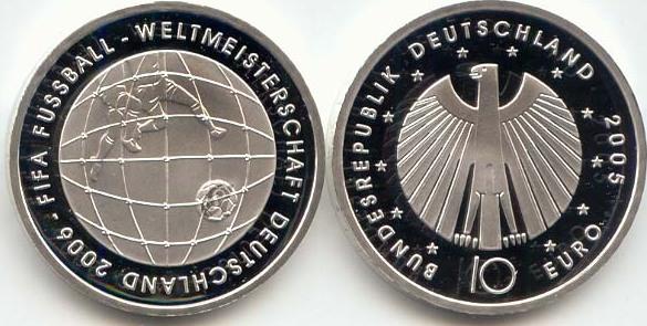 10,00 Euro 2005 Deutschland BRD 10 Euro Silber 2005 F st/prägefrisch Fußball-WM Ausgabe III st / prägefrisch