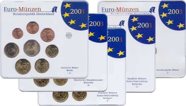 19,40 Euro 2003 Deutschland BRD Kursmünzensatz 2003 ADFGJ komplett stempelglanz OVP stempelglanz OVP