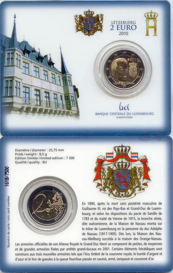 2,00 Euro 2010 Luxemburg Luxemburg 2 Euro 2010 offizielle Coincard Wappen Großherzog Henri vorzüglich-stempelglanz