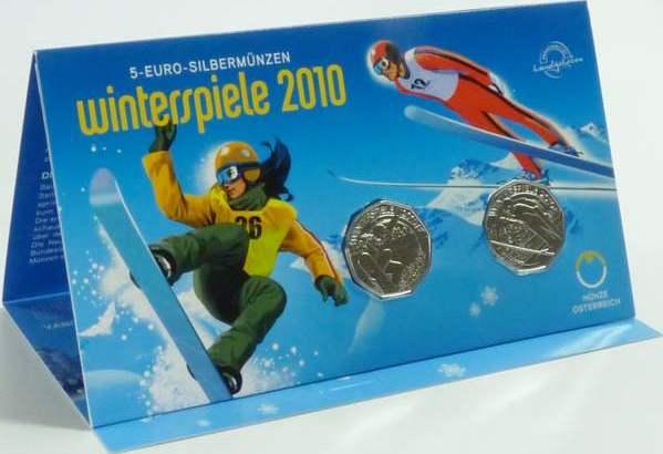 2x 5,00 Euro 2010 Österreich Österreich 2x 5 Euro 2010 hgh Blister Oly. Winterspiele Snowboard u. Skispringen handgehoben, original Blister