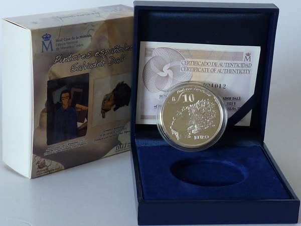 10,00 Euro 2009 Spanien Spanien 10 Euro Silber 2009 PP original 20. Todestag Dali - Portrait Gala Polierte Platte