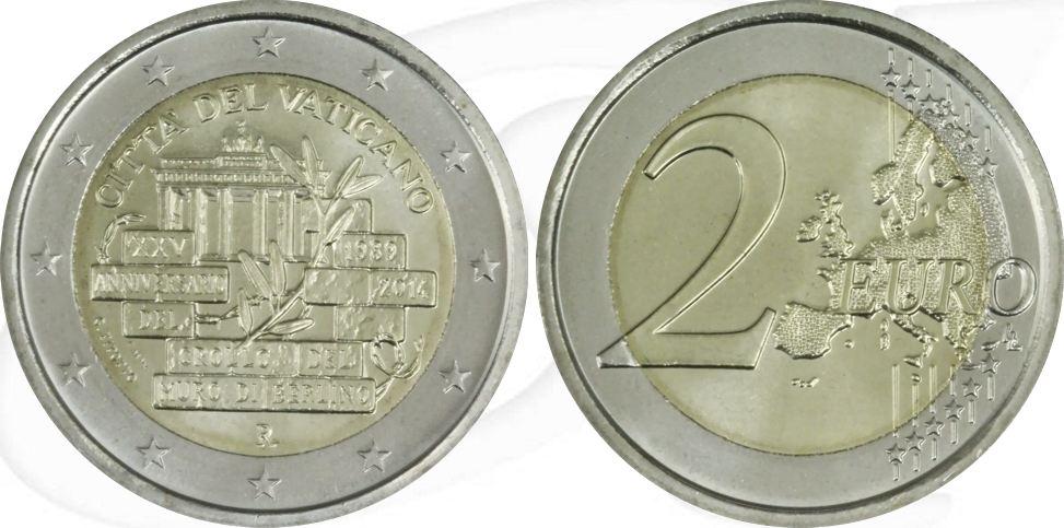2,00 Euro 2014 Vatikan Vatikan 2 Euro 2014 stempelglanz/OVP 25. Jahrestag Mauerfall in Berlin stempelglanz OVP
