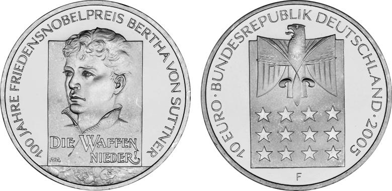 10 Euro Gedenkmünze 2005 Brd Silber 100 Jahre Friedensnobelpreis