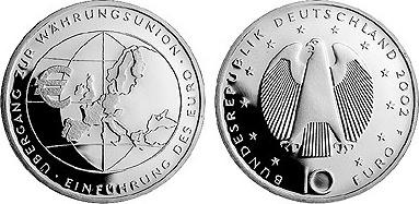 10 Euro Gedenkmünze 2002 Brd Silber übergang Zur Währungsunion