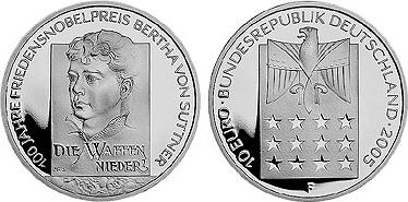 10 Euro 2005 Suttner Gedenkmünze Silber 100 Jahre