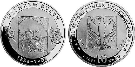 10 euro gedenkm nze 2007 d brd silber 175 geburtstag von wilhelm busch 2007 d pp 32 5. Black Bedroom Furniture Sets. Home Design Ideas