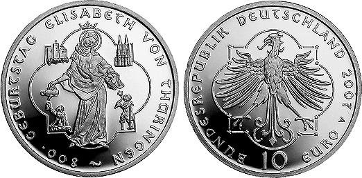 10 Euro Gedenkmünze 2007 A Brd Silber 800 Geburtstag Elisabeth