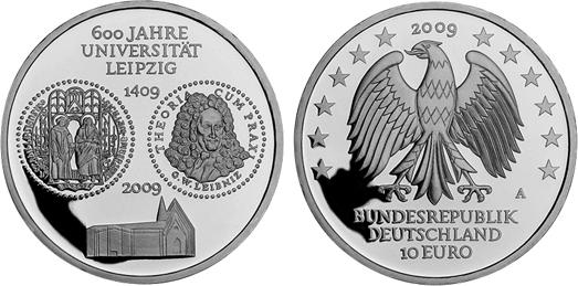 10 Euro Gedenkmünze 2009 A Brd Silber 600 Jahre Universität