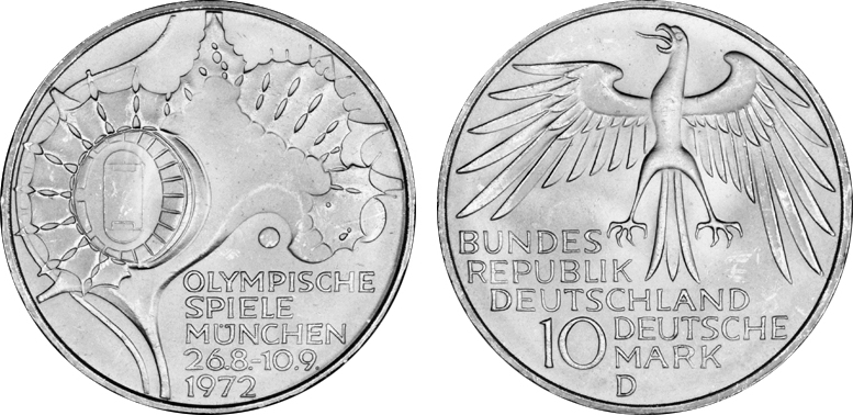 10 Dm Olympiade 1972 München Gedenkmünze 4satz Zeltdach Silber Vz