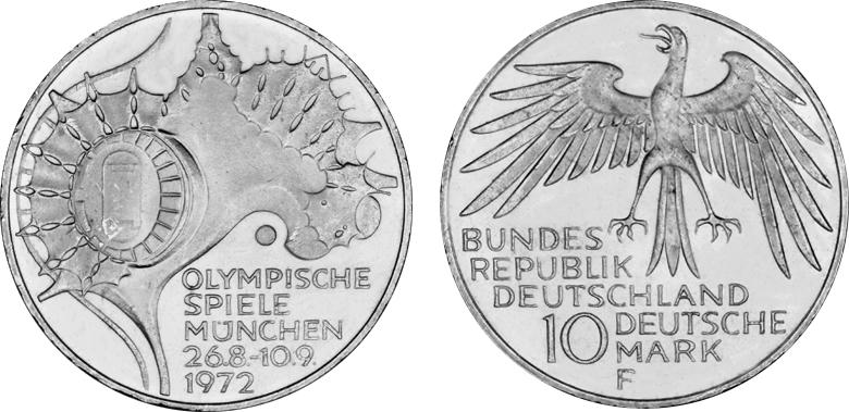 10 Dm Olympiade 1972 München Gedenkmünze 4satz Zeltdach Silber