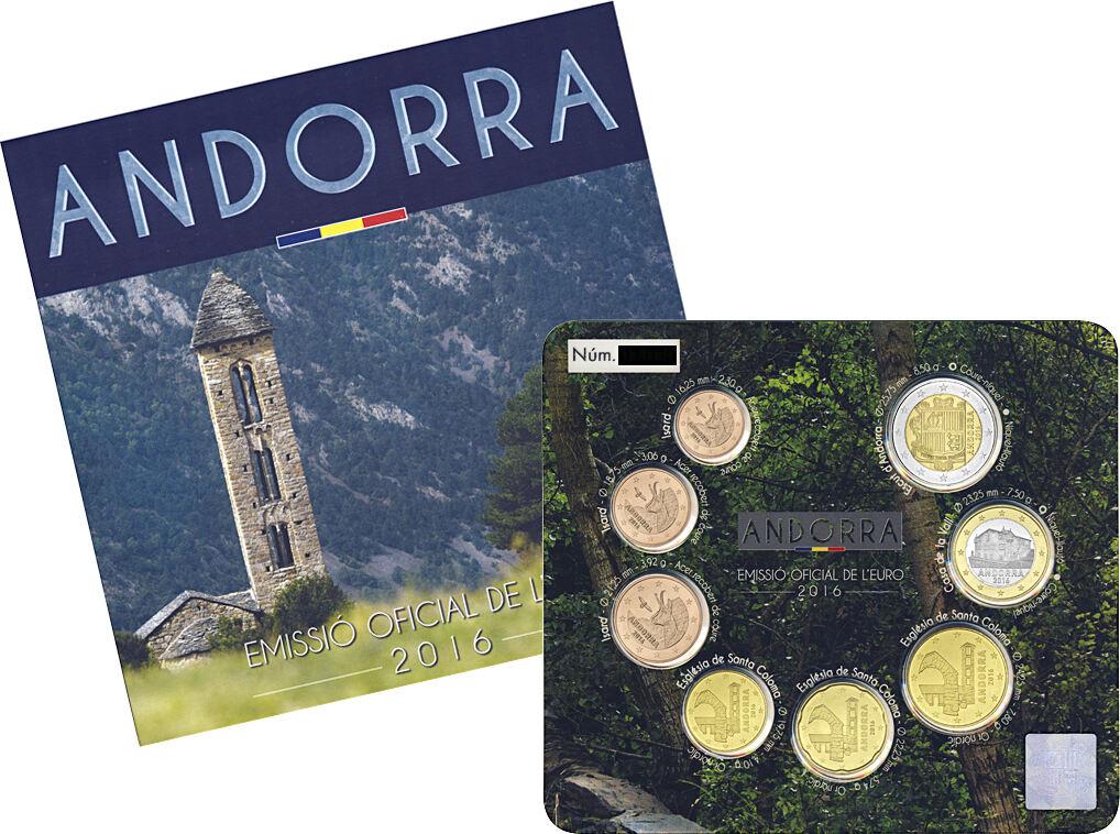 2016 Andorra 2016 St Nominalwert 388 8 Münzen 1x1ct 2ct 5ct