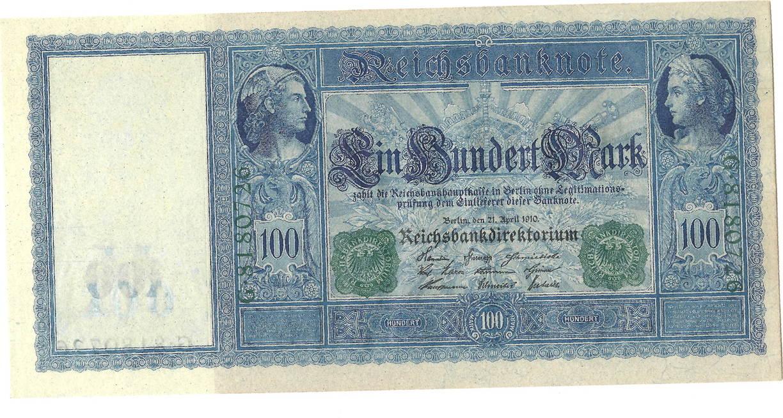 100 mark 21 deutschland reichsbanknote langer hunderter papier wei serie g gr ne. Black Bedroom Furniture Sets. Home Design Ideas