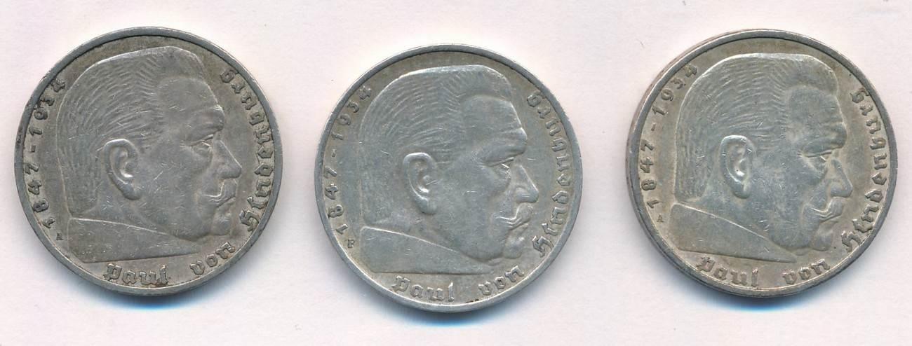 5 Reichsmark 1936 Iii Reich Lot 3 Münzen Hindenburg Prägung Aaf