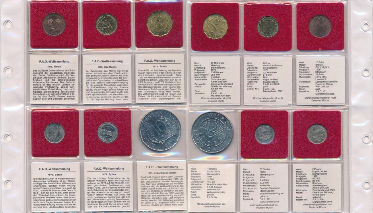 Fao 6 Münzen Omansan Marino Sudan Syrien Ostkaribische