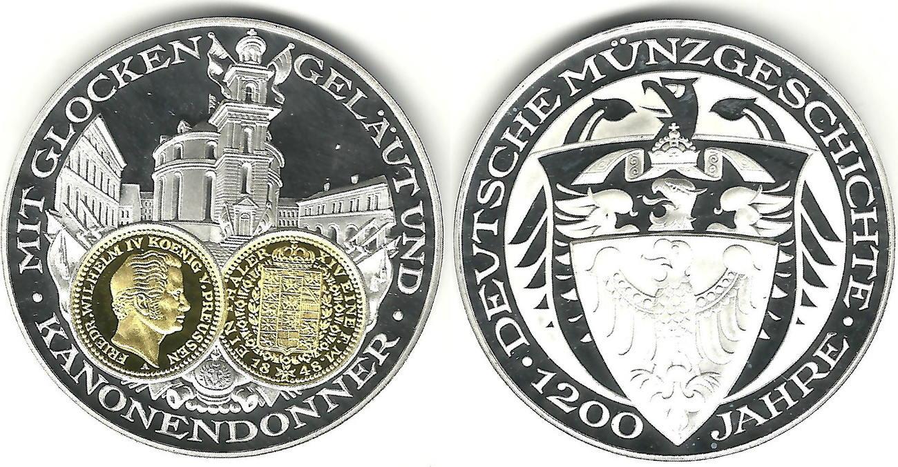 Deutschland Feinsilbermedaille 1200 Jahre Deutsche Münze Taler Von