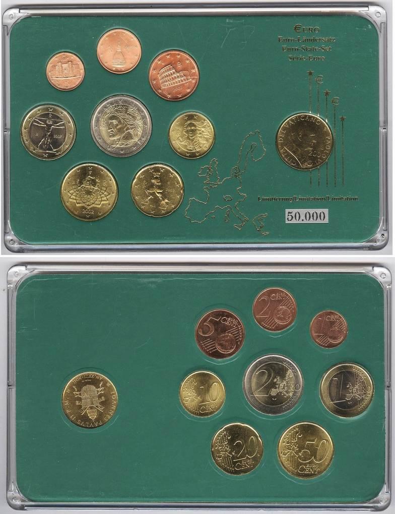 Münzensatz 2002 07 Italien Euro Ländersatz 1 Cent Bis 2 200 Lire