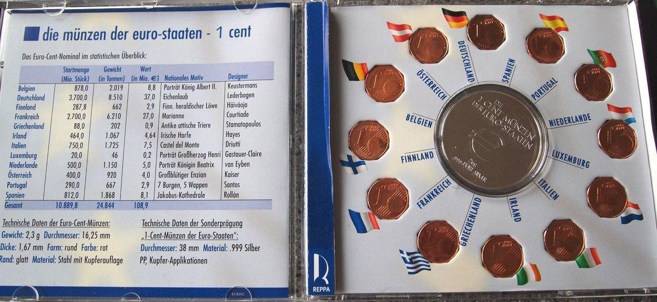 1 Cent Satz Div Europa Die 1 Cent Münzen Der Euro Staaten Mit
