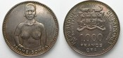 1971 Dahomey DAHOMEY 1000 Francs CFA 1971 FRAU AUS SOMBA Silber - kein PROOF - RRR!!! # 95743 unz