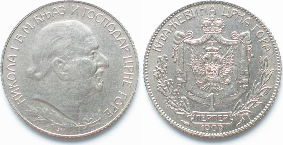 1909 Montenegro Montenegro Fürstentum 1 Perper 1909 Nikola I Silber