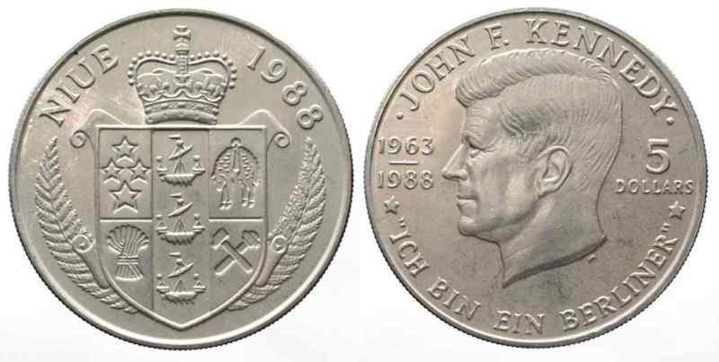 1988 Niue Niue 5 Dollars 1988 John Fkennedy Ich Bin Ein Berliner Ku