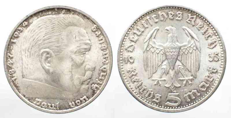 1935 Deutschland Drittes Reich Drittes Reich 5 Reichsmark 1935 G