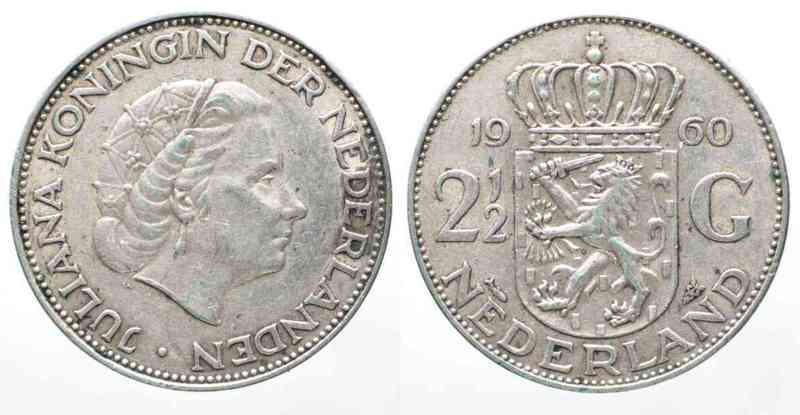 1960 Niederlande Nederland 2 12 Gulden 1960 Juliana Zilver 61125