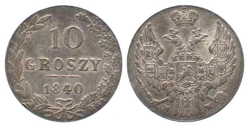 1840 Polen RUSSISCH POLEN 10 Groszy 1840 MW NIKOLAUS I Silber ERHALTUNG! # 62217 vz-st