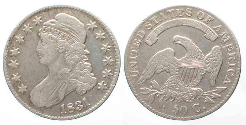 1831 Vereinigte Staaten von Amerika US Capped Bust Half Dollar 1831 silver XF # 64077 ss+/ss-vz