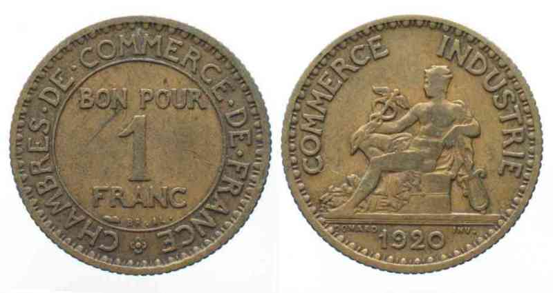 1920 frankreich france 1 franc 1920 chambre de commerce for Chambre de commerce france