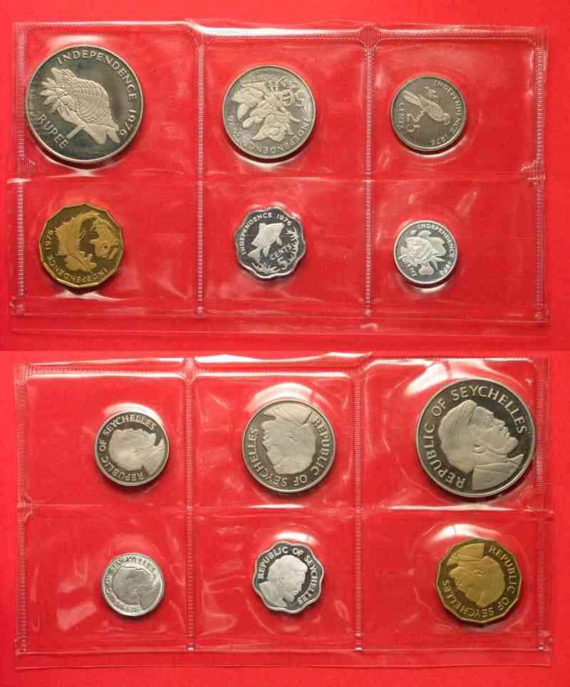 1977 Seychellen SEYCHELLEN 1,5,10,25,50 Cents & 1 Rupee 1976 PROOF!!! # 71569 PP