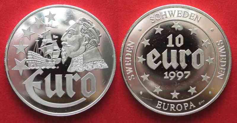 1997 Europa Schweden 10 Euro 1997 Gustav Adolf Schiff Vasa Silber