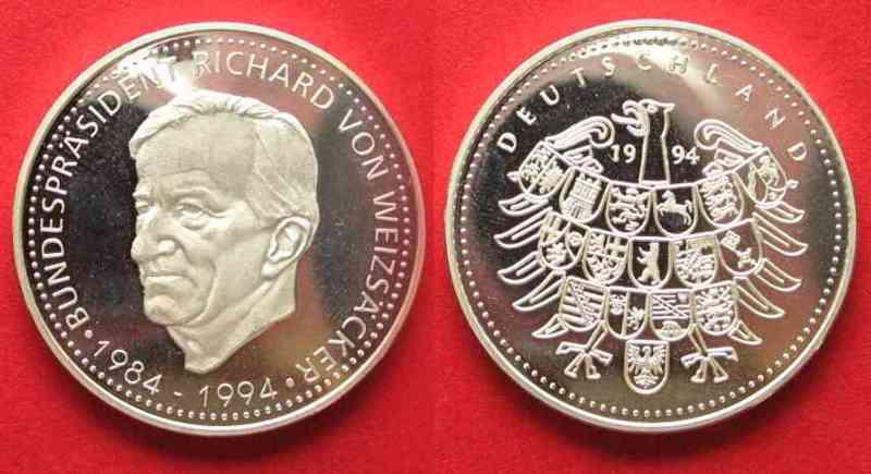 1994 Deutschland Medaillen Bundespräsident Richard Von Weizsäcker