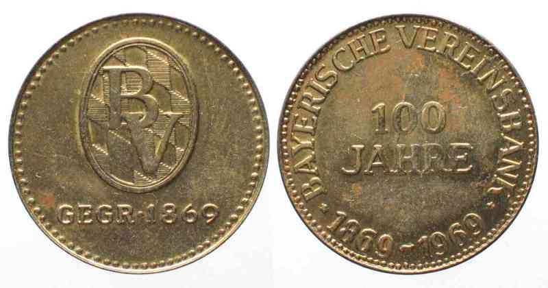 1969 Deutschland Medaillen 100 Jahre Bayerische Vereinsbank 1969