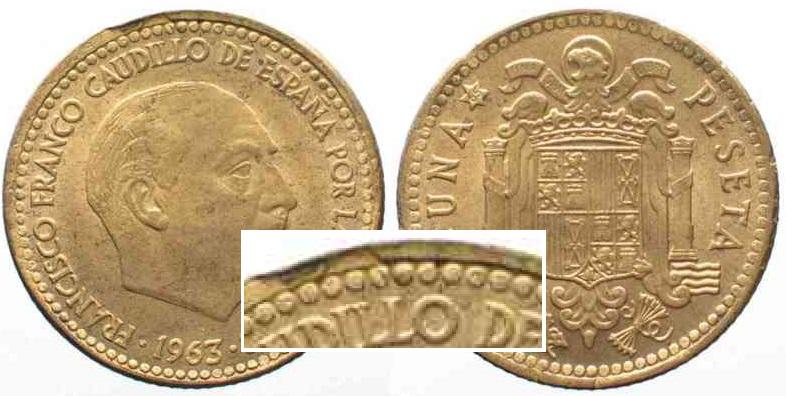 1965 Spanien Spanien 1 Peseta 196365 Franco Al Br Fehlprägung
