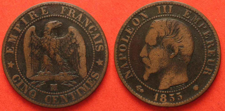1855 Frankreich France 5 Centimes 1855 Ma Marseille Ancre Napoleon