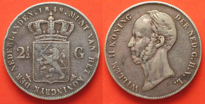 1 Gulden 1848 Niederlande Wilhelm Ii Folkloreschmuck Münzen