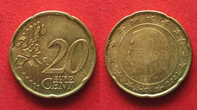 2002 Belgien Belgien 20 Cent 2002 Fehlprägung Batzen Im Gesicht