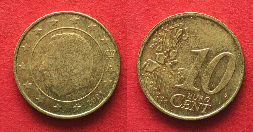 2001 Belgien Belgien 10 Cent 2001 Fehlprägung Stempeldrehung