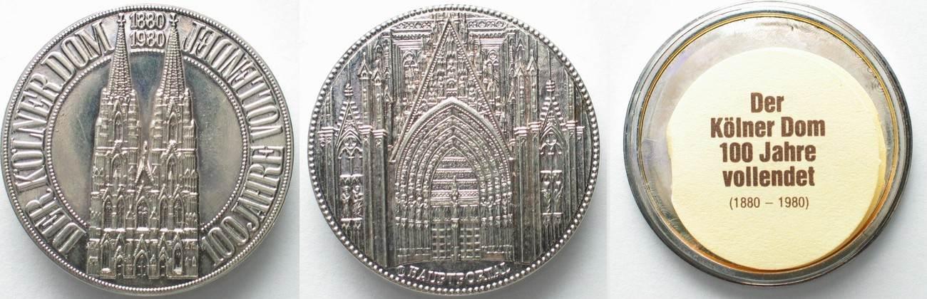 1980 Deutschland Medaillen Kölner Dom Schraubtaler 1980 Versilbert