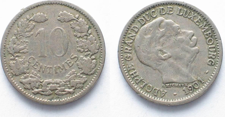 1901 Luxemburg Luxemburg 10 Centimes 1901 Adolphe Ku Ni Fehlprägung